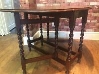 BEAUTIFUL BARLEY TWIST LEG DROP LEAF TABLE - CAN DELIVER