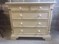 Cream shabby chic solid wood chest of drawers
