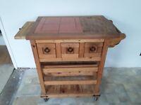 Antique pine kitchen trolley