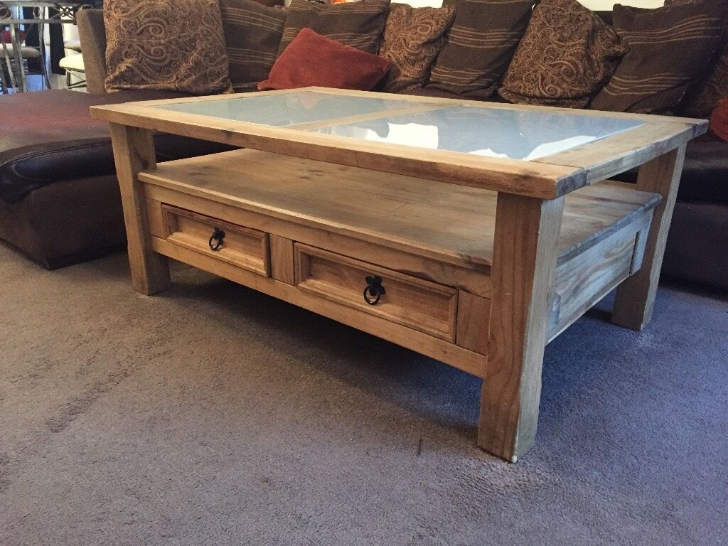 Corona Wooden Solid Pine Coffee Table With Glass And Two Drawers