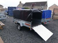 BRAND NEW MODEL 8.7x4.2 SINGLE AXLE TRAILER WITH FRAME AND COVER AND RAMP TIPPING