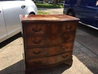 Victorian bow front chest of draws