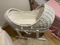 Moses basket , with mattress and bumper liner.