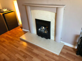 Marble back board and hearth with fire surround