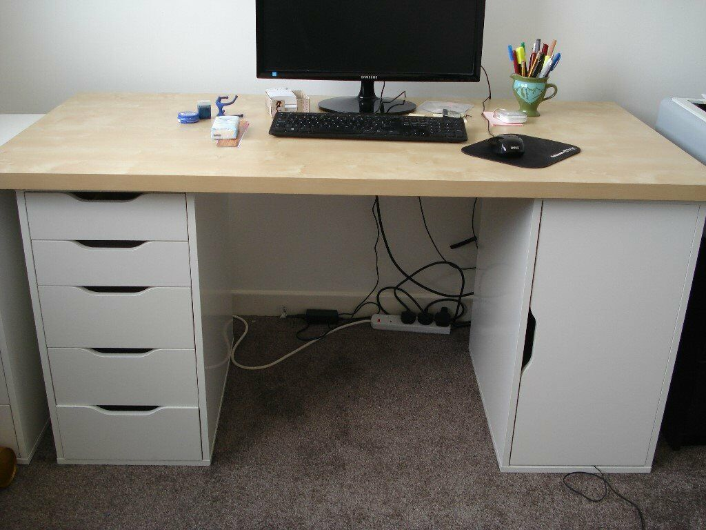 Ikea Desk Top Alex Drawer And Storage Units In