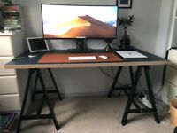 Large classy desk with trestle legs