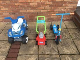 Childrens Scooter,Truck & Lawn Mower