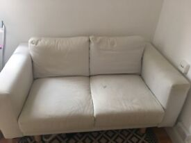 IKEA two-seater white sofa with removable covers