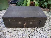Vintage Timber Box,With Original Lock And Key. 22 x 14 x 7 Inches.