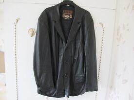Gents soft black leather coat size XXL