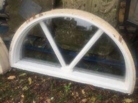 WOODEN HALF ROUND WINDOWS X 4 SINGLE GLAZED W108 cm H 56 cm £400 THE LOT