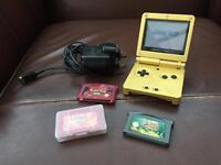 Nintendo Game Boy Advance SP Limited Edition Gold Handheld System with Games
