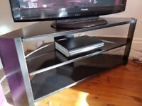 Black wood and glass corner TV stand table