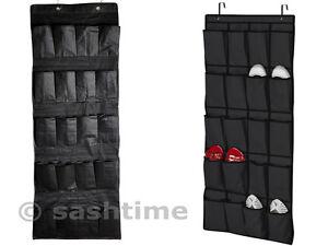 20 Pocket Hanging Over Door Shoe Organiser Storage Rack Tidy Space Saver - Black