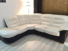 DFS 'ripple' black and white corner sofa