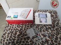 nintendo 2ds red and white still boxed hardly used £50 and 2 games