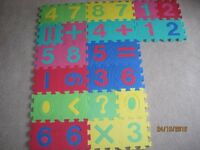 Children's numerical rubber interlocking floor tiles