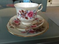 Queen Anne bone China cup saucer and side plate