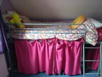 Single, metal frame, mid sleeper bed