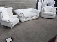 Leather Chesterfield suite sofa queen anne chair and swivel chair can deliver