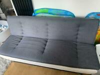 Grey and white leather sofa bed