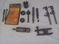 Garage tools , ball joint breaker , spring clamps etc.