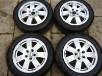 """FORD 16"""" 5 STUD ALLOY WHEELS WITH DECENT TYRES AND SET OF NUTS"""