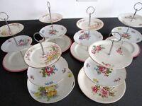 Job Lot 6 Vintage Cake Stands Roses Gold - Excellent Condition Wedding Cafe