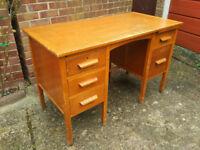 Vintage Mid Century Pedestal Desk Teachers Desk Architects Desk Engineers Desk