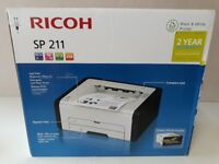 Ricoh SP211 Laser printer, black and white, includes USB cable, Brand New