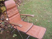Brown Reclining 'Garden'Chair with extending Foot rest.