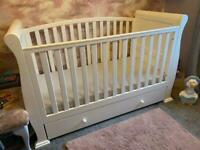 Very Large Wooden White Sleigh Design Cot & Changing Station Nursery Furniture