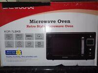 Daewoo KOR7LBKB Retro Microwave Oven, 20 L - Black/Brand New