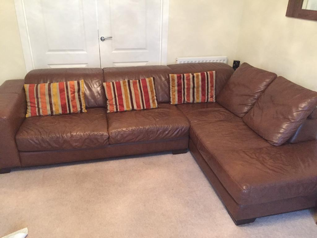 Leather Tan Brown L Shaped Sofa Couch And Electric Recliner