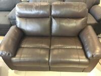 New Designer Brown 100 % Leather 2 Seater Recliner Sofa