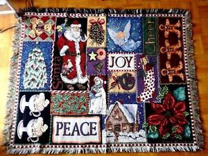 "CHRISTMAS TAPESTRY THROW BLANKET / GOODWIN WEAVERS MADE IN USA 45 X 56"" America"