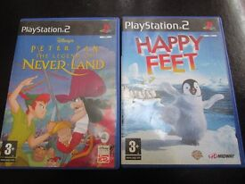 Two Playstation 2 Games, PeterPan - The Legend Of Never Land And Happy Feet