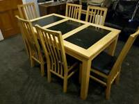 Harvey's granite solid beech dining table and 6 chairs