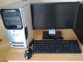 "DELL DESKTOP PC COMPLETE 4GB RAM/500GB HDD , 21"" DELL MONITOR, KEYBOARD, WINDOWS 7 HOME PREMIUM"
