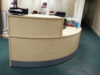 Beech Office Reception Desk and Work Area
