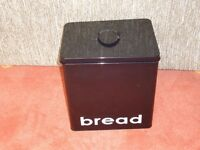 Black Metal Bread Bin - Good Condition + Free smaller Coffee tin