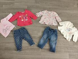 Baby girl jeans and tops bundle 3-6 months NEXT, Miniclub, Nutmeg