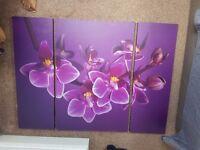 3 part Purple Flower Canvas
