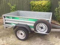 "HUGE Daxara 198 tipping trailer (both ends drop) 13"" wheels"