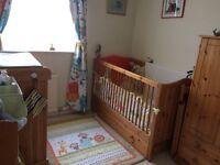 Pine Nursery Furniture, cot, wardrobe, changer and shelves