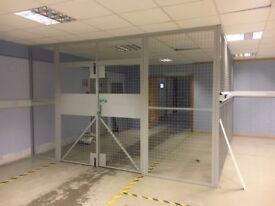 Industrial Wire Mesh Partitions Panels w/Double Door/Segregating Cage Partition