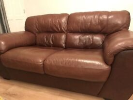BROWN LEATHER VIOLINO 2 SEATER SOFAS FOR SALE X 2 - MUST GO ASAP - CHEAP DELIVERY - £350