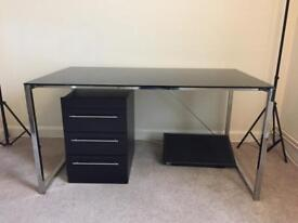 140x80cm Black Glass Desk with drawers and shelving unit