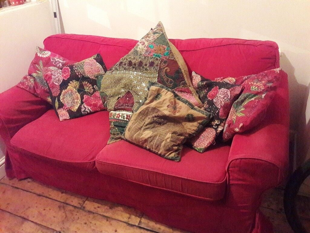 Red corduroy two-seater sofa *FREE* | in St Werburghs ...