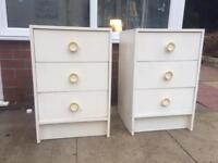 White bedside draws/tables